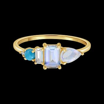 10kt Rainbow Moonstone, Topaz, Turquoise and Diamond Collective Ring