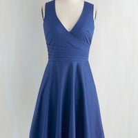 Mid-length Sleeveless Fit & Flare Beguiling Beauty Dress in Blue