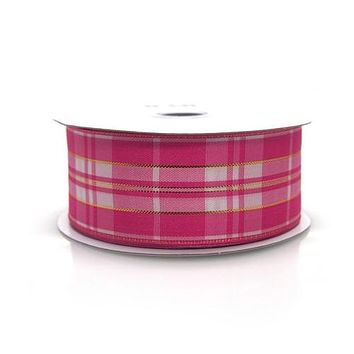 Plaid Checkered Metallic Wired Ribbon, 1-1/2-inch, 10-yard, Pink