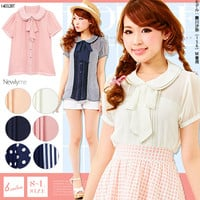 Plain or stripe or dot ribbon bow or two collar short sleeve blouse