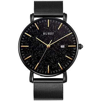 BUREI Men's Fashion Minimalist Wrist Watch Analog Date with Stainless Steel Mesh Band Black black-gold
