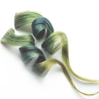 Human Hair Extension, Spring extension hair, extension, green clip in hair, Tie Dye Colored Hair - Irish Eyes
