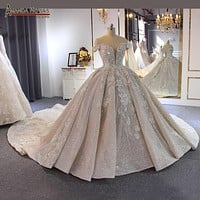 Luxury Beaded Off Shoulder Long Train Bridal Wedding Dress