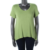 Nally & Mille Womens Ribbed Knit Hi-Low Jersey Top