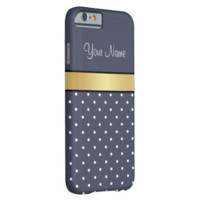Gold Monogram On Chic Delf Blue & White Polka Dots iPhone 6 Case