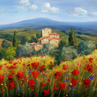Italian painting Tuscany countryside with flowers oil canvas original of Bruno Chirici Italy - Dipinto quadro paesaggio Toscana