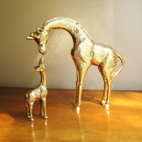 Vintage Solid Brass Giraffe and Baby Giraffe Figurines, Mother and Baby Giraffe, Brass African Animals