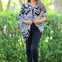 Chevron Print Knit Cardigan in Black/Taupe