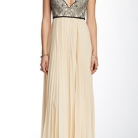Belle Of The Ball Genuine Leather Strap Maxi Dress