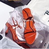 The row Ribbon buckle middle heel sandals