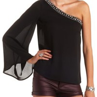 Pearl, Bead & Jewel Embellished One Shoulder Top