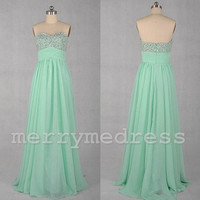Mint Sequins Sweetheart Strapless Long Bridesmaid Dress, Floor length Tulle Formal Evening Party Prom Dress New Homecoming Dress