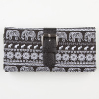 Tribal Elephant Wallet Black/White One Size For Women 22799712501