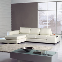 Divani Casa T35 Mini - Leather Sectional Sofa with Light