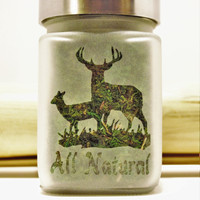 Buck & Doe - Deer All Natural Etched Glass Stash Jar - Free UPGRADE to Priority Shipping within the US