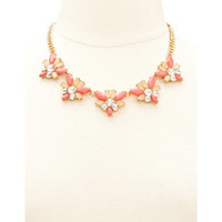 FANNED FACETED GEM STATEMENT NECKLACE