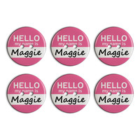 Maggie Hello My Name Is Plastic Resin Button Set of 6