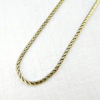 Vintage Mens Gold Chain Necklace, Long Thin Square Box Link Chain Necklace, Unique Cool Mens Jewelry, 1970s 1980s RetroJewelry