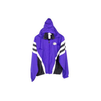 90s ADIDAS purple windbreaker jacket / vintage 1990s / parka / retractable hood / black and white  / hip hop / athletic streetwear / unisex