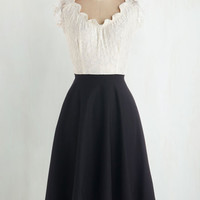 Pinup Long Sleeveless A-line Up, Opera, and Away Dress in Cream by Stop Staring! from ModCloth