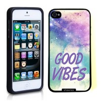 iPhone 5 5S Case ThinShell TPU Case Protective iPhone 5 5S Case Shawnex Good Vibes Hipster Quote Lilac