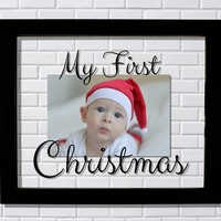 My First Christmas Frame – Floating Photo Baby's First Christmas 1st Decor Holidays Gift Present