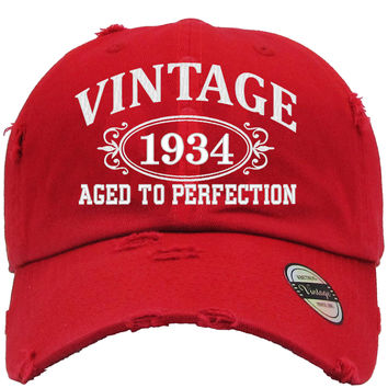 AGED TO PERFECTION 1934 Embroidered Distressed Baseball hat