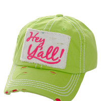 Hey Ya'll Distressed Cotton Baseball Cap Hat Lime Green, Embroidered On Torn Denim Decor