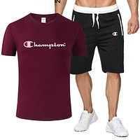 Champion Tide brand men's solid color wild casual sports suit two-piece Red