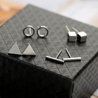 4 Pairs/set Fashion Simple Geometric Vertical Circle Square Triangle Earrings 171120