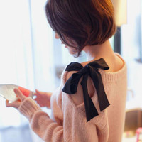 A 082601 Strapless Bow Retro Loose Cardigan Sweater Coat-343