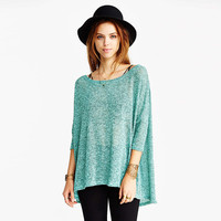 Solid  Knitted Back Slit Loose Top