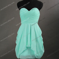 Sweetheart Knee-length Short Sage Bridesmaid Dress Wedding Party Dress Prom Dress 2014