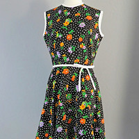 1960s Kay Windsor Polka Dot/Floral Dress Full Skirt w/Bow/Woman's Vintage/Med/Preppy/Retro/Fun Spring/Summer Fashion