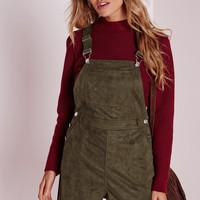 Missguided - Faux Suede Dungaree Playsuit Khaki