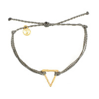 Gold Hammered Triangle Grey