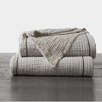Topanga Neutral Stripe Organic Blanket