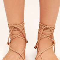 Micah Nude Lace-Up Flat Sandals