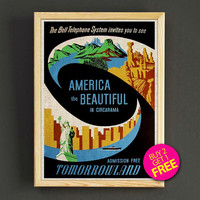 Vintage Tomorrowland America the Beautiful Poster Disney Attraction Print Home Wall Decor Gift Linen Print - Buy 2 Get 1 FREE - 367s2g