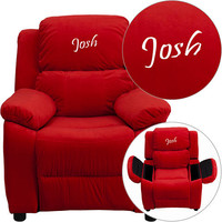 Solid Color Storage Arm Child Size Youth Recliners