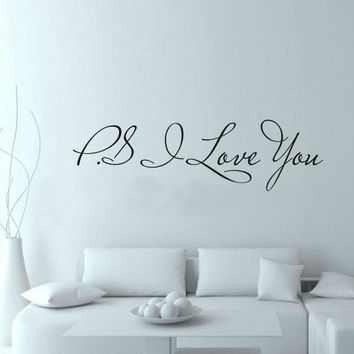 ZUCZUG 58*13cm PS I Love You Wall Art Decal Home Decor Famous & Inspirational Quotes Living Room Bedroom Removable Wall Stickers