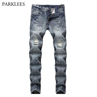 Men Skinny Holes Jeans Pants Runway Motorcycle Biker Jeans Fashion Hip Hop Ripped Jeans for Men Casual Stretch Denim Trousers