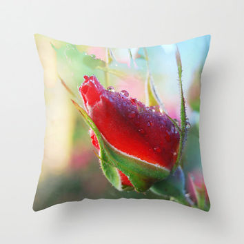 Rose bud photo pillow, cerise and green dew drop flower home decor, pink floral photographic cushion art, romantic soft furnishing