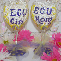 ECU Mom & Girl Hand Painted Wine Glasses ECU Mom and ECU Girl Painted Wine Glass Set of 2