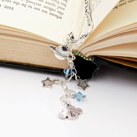 Planet Saturn Space Galaxy Bookmark with Handstamped Initial and Birthstone Beads