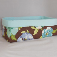 Long Fabric Basket Made With Brown And Aqua Floral Fabric For Storage Or Gift Giving