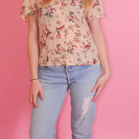Vintage 1990s short sleeve tiny fit lightweight sheer Vintage EXPRESS floral GRUNGE CROPPED button down blouse S M