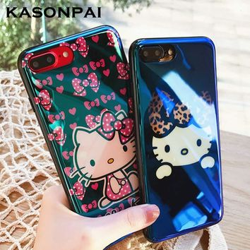 KASONPAI Blue Light Animal Cartoon Hello Kitty Cat Soft TPU Case for iPhone 6 6s 7 8 Plus Fancy Cute Artistic Back Cover Cases