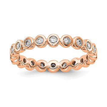 1/2 Ct. Bezel Set Diamond Eternity Wedding Band Ring in 14k Rose Pink Gold