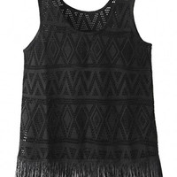 Sleeveless Crochet Fringed Bottom Tank